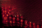 Incense Sticks Prints - Red Lanterns in the Rain Print by Zoe Ferrie