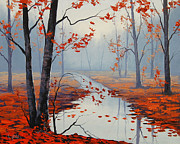 Autumn Landscape Painting Framed Prints - Red Leaves Framed Print by Graham Gercken
