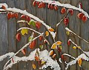 Snowscape Painting Metal Prints - Red Leaves in Snow Metal Print by Julie Kreutzer