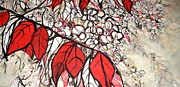 Wisteria Mixed Media Prints - Red Leaves Print by Katie Jurkiewicz