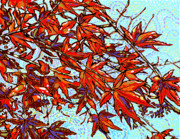 Red Leaves Painting Posters - Red Leaves Poster by Nadi Spencer