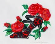 Straps Drawings Prints - Red Leopard Roses Print by Karon Melillo DeVega