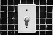 Tiled Prints - Red Light Door Buzzer Button On A Old Tiled Wall Print by Joe Fox