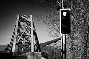 Traffic Control Photo Prints - Red Light Traffic Control At The Single Track Connel Bridge On The A828 Coastal Route Road Over Loch Print by Joe Fox