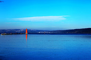 Ithaca Digital Art Posters - Red lighthouse in Cayuga Lake New York Poster by Paul Ge