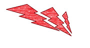 Lightning Bolts Digital Art Posters - Red lightning Poster by Edwin Lopez