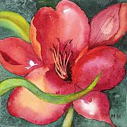 Floral Posters - Red Lily Poster by Marsha Woods