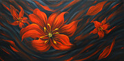 Landscape Greeting Cards Painting Posters - Red Lily Poster by Uma Devi