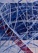 Hockey Paintings - Red Line Blue Line by Yack Hockey Art