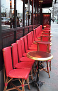 Outdoor Cafe Photo Prints - Red Line in Paris Print by John Rizzuto