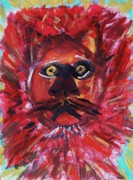 Visionary Art Drawings - Red Lion by Mary Carol Williams