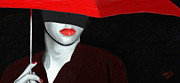 Portraits Digital Art Acrylic Prints - Red Lips and Umbrella Acrylic Print by James Shepherd