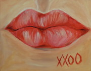 Lips  Paintings - Red Lips  by Dyanne Parker