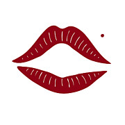 Kissing Posters - Red Lips Poster by Frank Tschakert