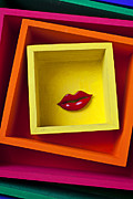 Red Lips Acrylic Prints - Red LIps In Yellow Box Acrylic Print by Garry Gay