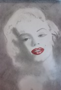 President Mixed Media - Red Lips Monroe by Chris Hall