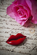 Calligraphy Photo Prints - Red lips On Letter Print by Garry Gay