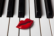 Red Lips Acrylic Prints - Red lips on piano keys Acrylic Print by Garry Gay