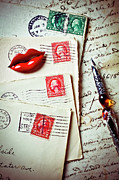 Postage Stamps Prints - Red lips pin and old letters Print by Garry Gay