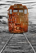 Blackwhite Prints - Red Locomotive Print by James Bo Insogna