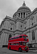 Pauls Framed Prints - Red London Bus at St. Pauls Framed Print by Dawn OConnor