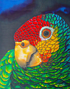 Silk Print Tapestries - Textiles Prints - Red Lorred Parrot Print by Daniel Jean-Baptiste