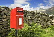Langdale Framed Prints - Red Mailbox in English Lake District Framed Print by Jon Boyes