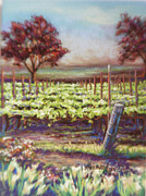 Grapevines Pastels Posters - Red Maples and Dafodills Poster by Denise Horne-Kaplan