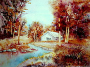 Abandoned Houses Painting Posters - Red Maples At The Lake House Quebec Watercolor Summer Scene Poster by Carole Spandau
