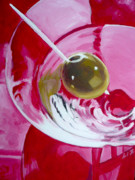 Cheers Prints - Red Martini Print by Liz Zahara