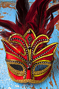 Masquerade Prints - Red Mask Print by Garry Gay