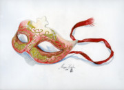 Ribbon Drawings Prints - Red Mask Print by Morgan Banks