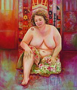 Voluptuous Painting Prints - Red Maya Print by Michal Shimoni