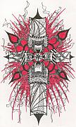 Christ Drawings - Red Mechanical Cross by Wayne Woodruff