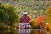 New Hampshire Lakes Framed Prints - Red Mill in Autumn Framed Print by Susan Cole Kelly