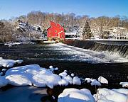 Snow Covered Village Prints - Red Mill in Winter Landscape Print by George Oze