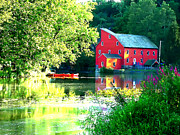 Canoe Digital Art - Red Mill on the Lake by Jeff Stein