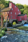 Grist Mill Posters - Red Mill on the water Poster by Paul Ward