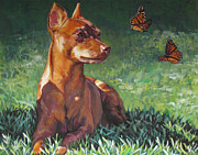 Pinscher Prints - Red Miniature Pinscher Print by Lee Ann Shepard