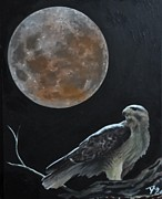 Red-tailed Hawk Paintings - Red Moon Hawk by Daniel  Remmenga