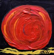 Expressionist Drawings - Red Moon on Black by Mary Carol Williams