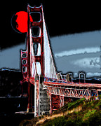 San Francisco Bay Digital Art Framed Prints - Red Moon Over The Golden Gate Bridge Framed Print by Wingsdomain Art and Photography