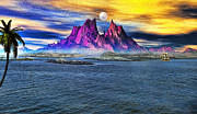 Yacht Mixed Media Metal Prints - Red Mountain Island Metal Print by Tyler Robbins