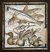 Mosaic Photos - Red Mullets And Ducks, Roman Mosaic by Sheila Terry