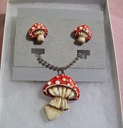 Alice In Wonderland Jewelry - Red Mushrooms by Kristin Lewis
