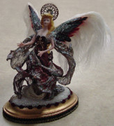 Silk Ceramics - Red-n-Gold Angel by Shirley Heyn