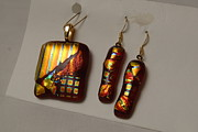 Gold Earrings Glass Art Originals - Red n Gold dichroic pendant and earrings by Sandy Feder