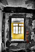 Abandoned Buildings Framed Prints - Red N Yellow Framed Print by Emily Stauring