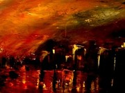 Soleil Couchant Paintings - Red night by Marchini Pierre paul