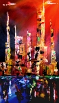 Cityscapes Mixed Media Prints - Red Nights Print by Tom Fedro - Fidostudio